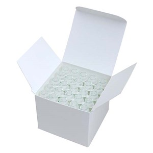 White box with lid open revealing sperm concentration test vials with lids for canine use