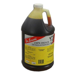 Clear plastic 1 gallon jug with black, red, white and yellow label containing cmpk drench