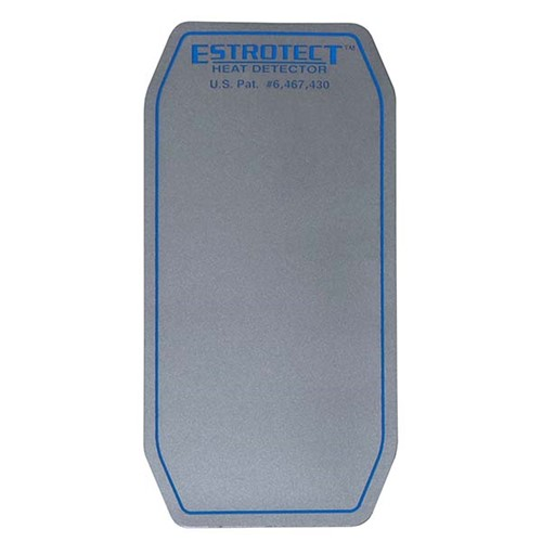 Silver with blue trim heat detector patch