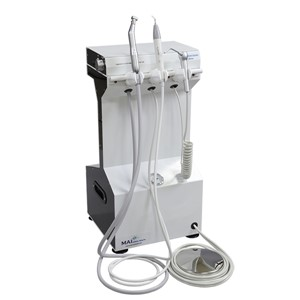 White metal Ultima E-Series table top electric dental unit with high speed handpiece, scaler, air/water syringe and foot pedal