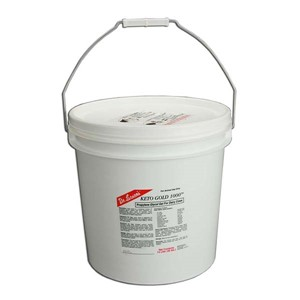 14 liter white plastic container with red, white and black label a metal carrying handle