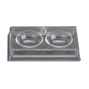 Clear two-piece plastic culture dish with 2 numbered wells with a 20 degree radius and lid