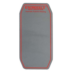 Silver with red/orange trim heat detector patch