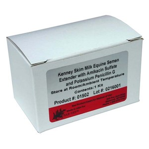 White semen extender box with white and red label