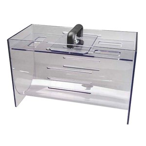 Clear polycarbonate box that has a black plastic carrying handle and locking bar and concave bottom, 16 inches x 10 inches x 8 inches