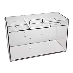 Clear polycarbonate box that has metal carrying handle and locking bar 17 inches x 10-1/2 inches x 8 inches