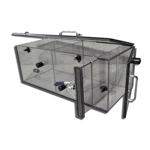 Clear polycarbonate box that has metal carrying handle metal latches, 2 doors and removable chamber dividers, 23 inches x 10 inches x 9 inches
