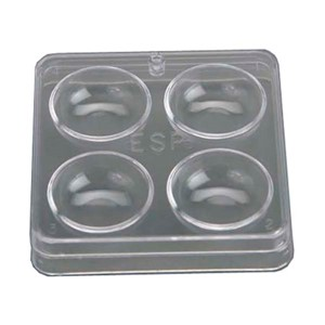 Clear two-piece plastic square culture dish with 4 numbered wells and lid