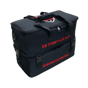 2 Black heavy duty bags that zip and buckle together with carrying handles an embroidered logo on the top and red embroidery on the sides