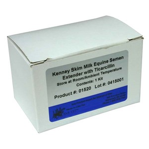White semen extender box with white and blue label