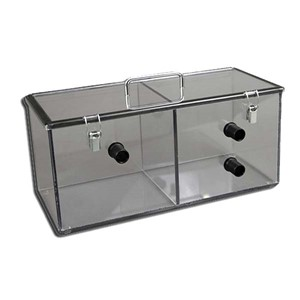 Clear polycarbonate box that has 2 chambers, metal latches and carrying handle and 3 ports 16 inches x 7 inches x 7 inches